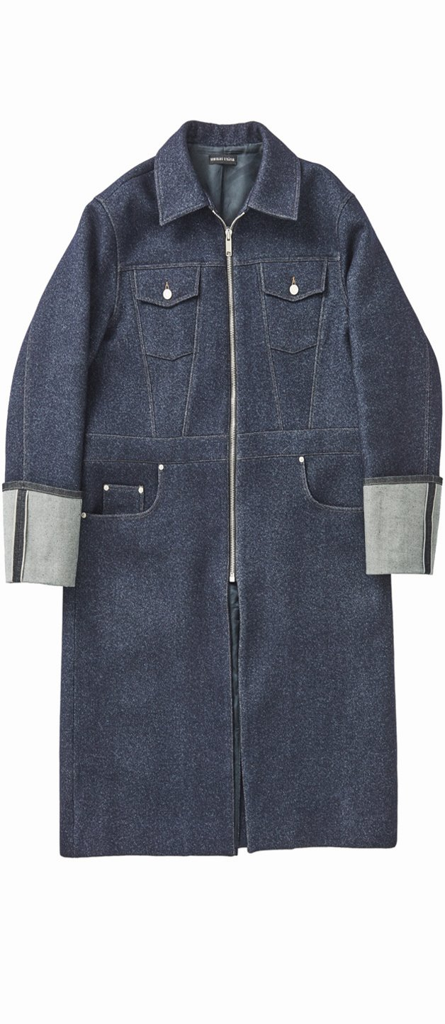 """DENIM EFFECT"" HEAVY WOOL COAT"